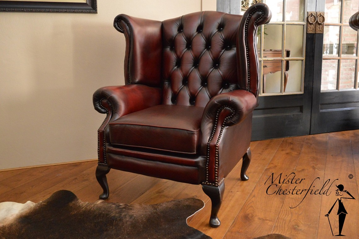 nr 17 queen anne wingchair in antique red mister. Black Bedroom Furniture Sets. Home Design Ideas