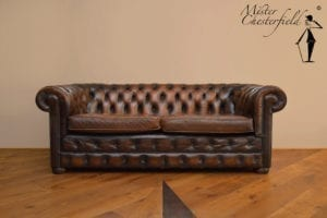 Chesterfield, vintage, bruin
