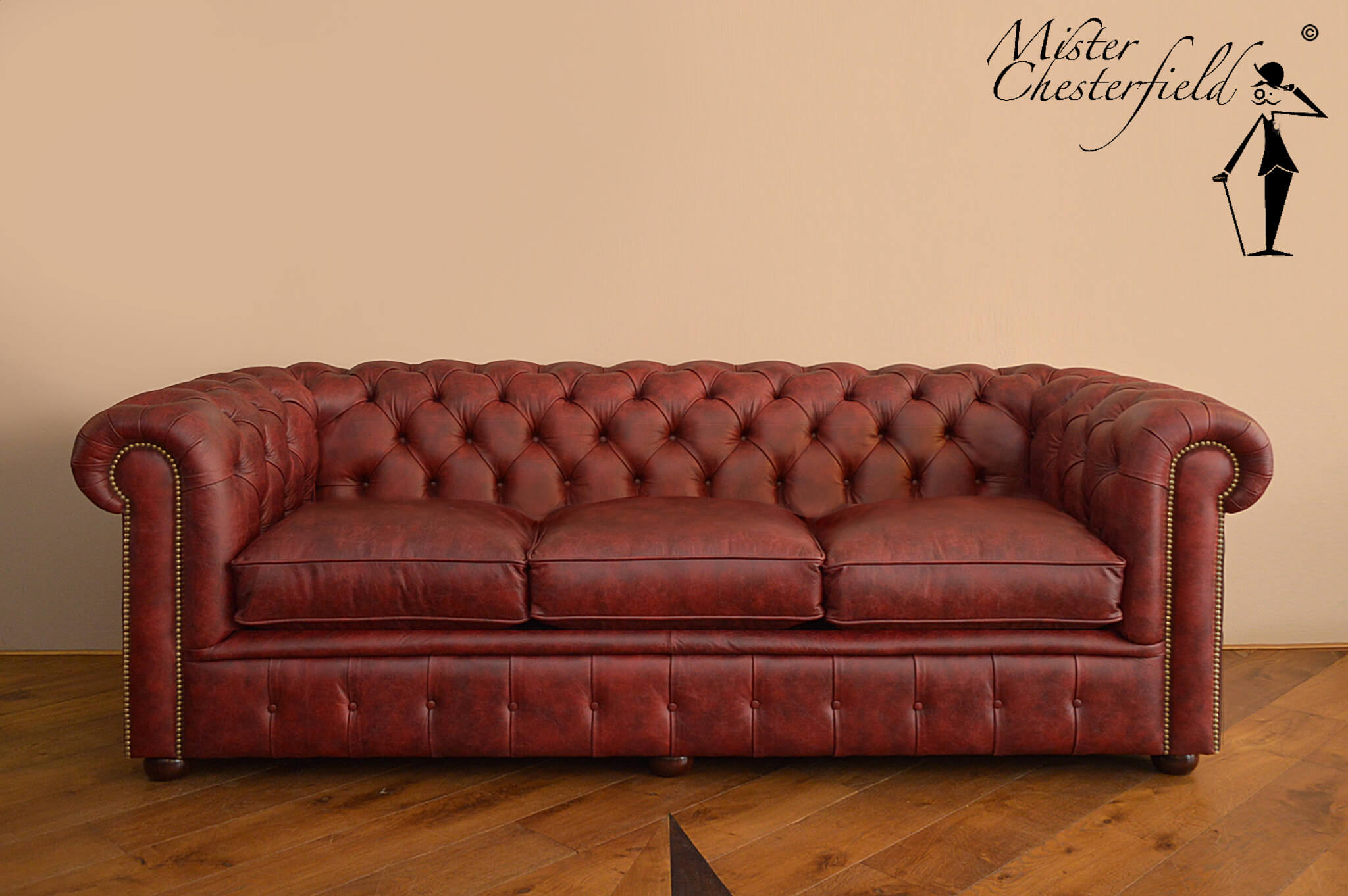 Vintage Red Chesterfield Sofa 225cm Directly Available Mister