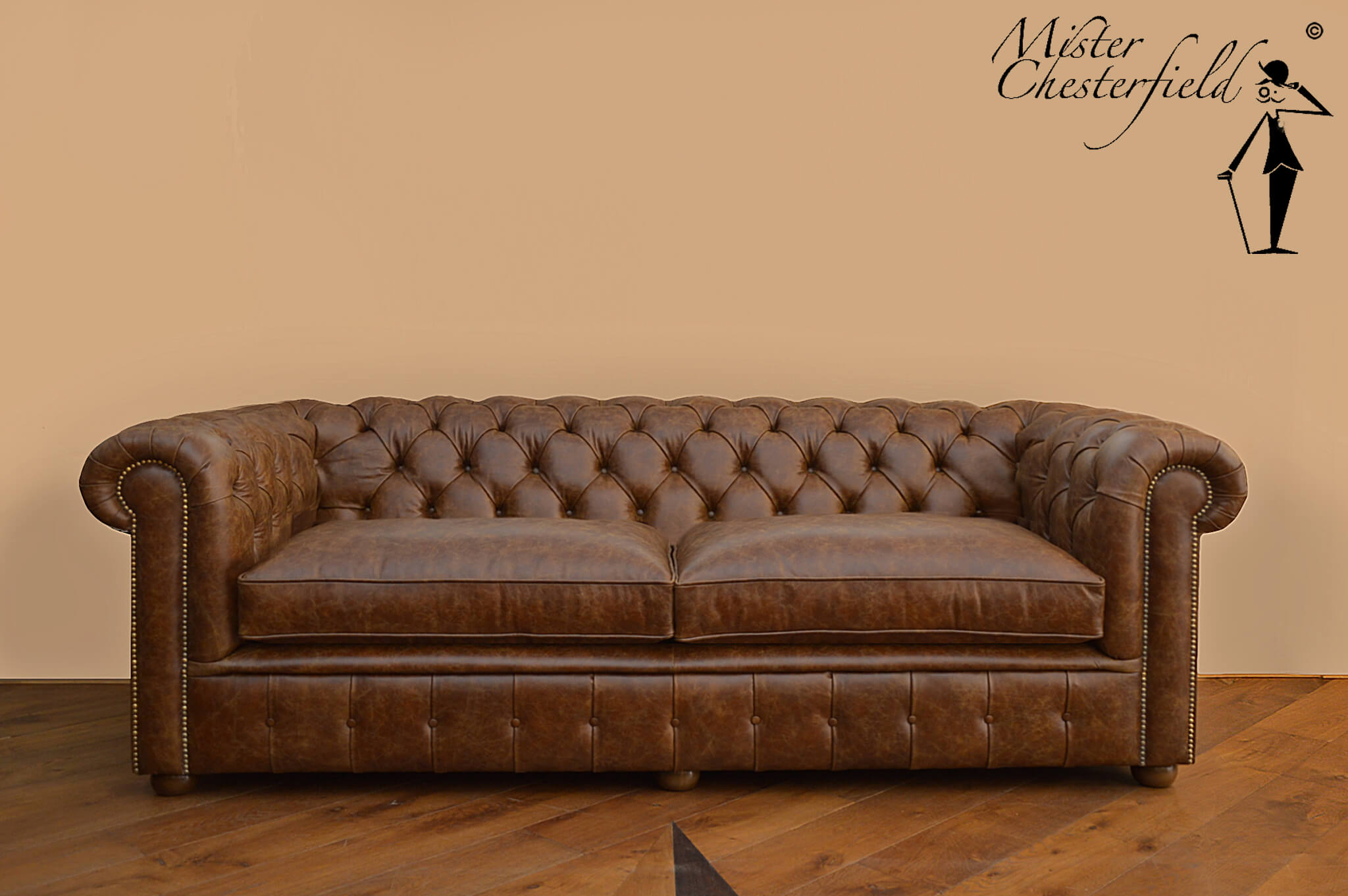 Vintage Cognac Chesterfield Sofa 225cm Directly Available